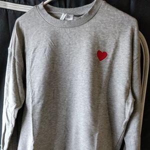 H&M Woman Divided Heart Sweatshirt